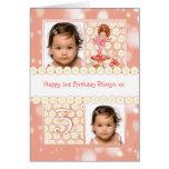 3rd birthday customisable photo greeting card