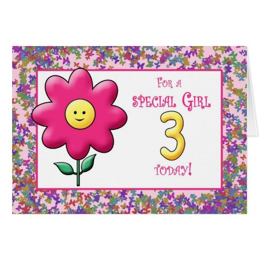 3rd Birthday Cute Pink Flower and Smiley Greeting Cards