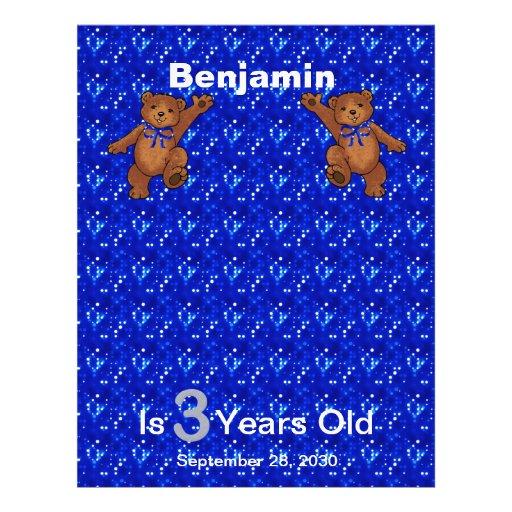 3rd Birthday Dancing Bear Scrapbook Paper 1 Custom Flyer