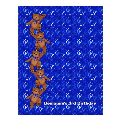3rd Birthday Dancing Bear Scrapbook Paper 2 Flyer Design