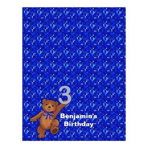 3rd Birthday Dancing Bear Scrapbook Paper 3 Flyer Design