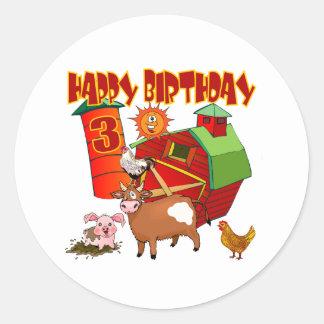 3rd Birthday Farm Birthday Round Sticker