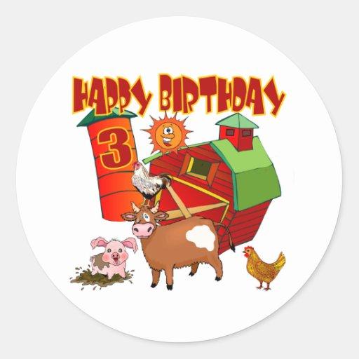 3rd Birthday Farm Birthday Sticker