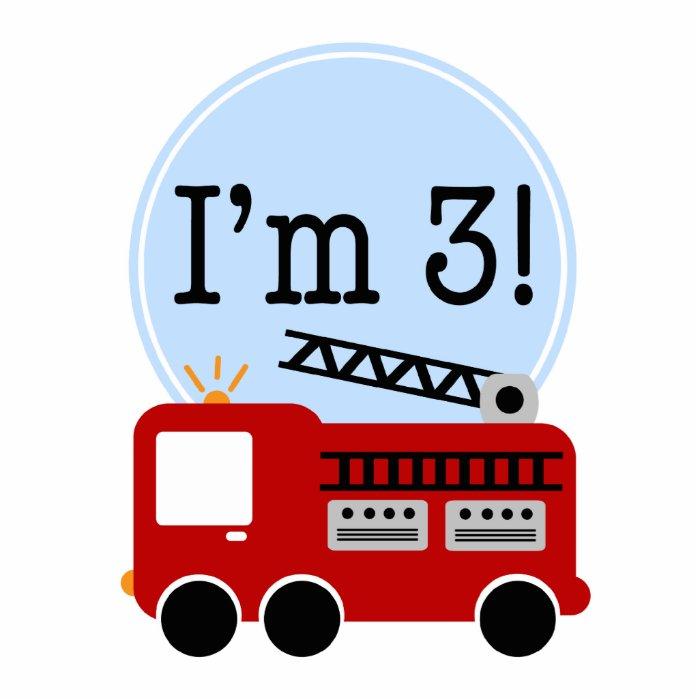 3rd Birthday Fire Truck Cake Topper Standing Photo Sculpture