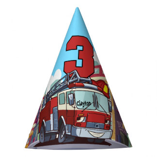 3rd Birthday Fire Truck Party Hat