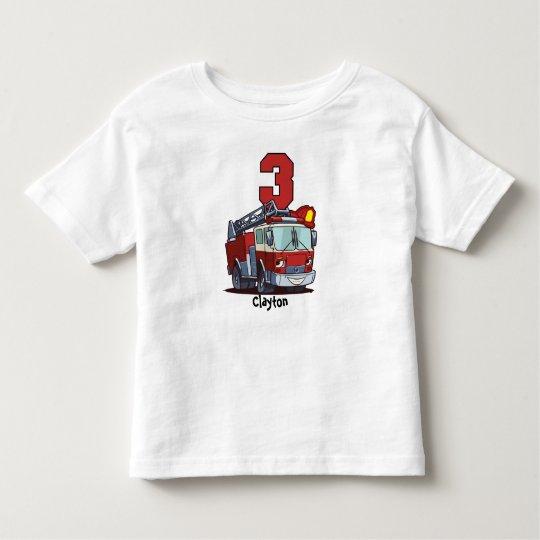 3rd Birthday Fire Truck Toddler T-Shirt