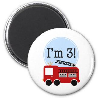 3rd Birthday Firetruck 6 Cm Round Magnet