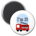 3rd Birthday Firetruck Fridge Magnet