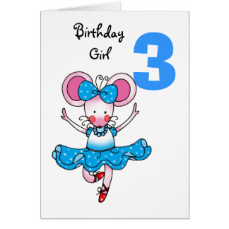 3rd birthday gift for a girl, cute ballerina greeting card