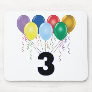 3rd Birthday Gifts with Balloons Mouse Pad