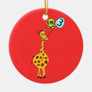 3rd Birthday Giraffe and Balloons Christmas Ornament