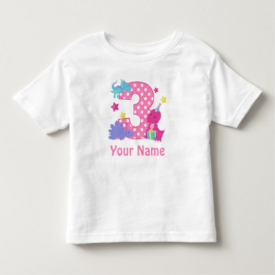 3rd Birthday Girl Dinosaur Personalised T Shirt