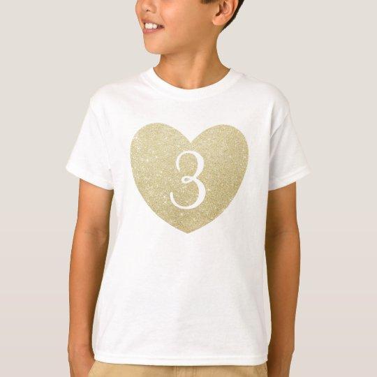 3rd Birthday Girl Glitter heart Personalised T-Shirt