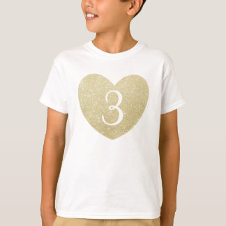 3rd Birthday Girl Glitter heart Personalized T-Shirt