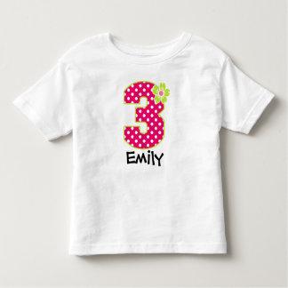 3rd Birthday Girl Hot Pink & Green Dots Toddler T-Shirt