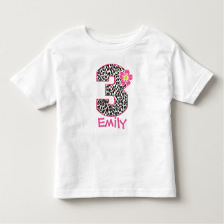 3rd Birthday Girl Hot Pink & leopard print Toddler T-Shirt