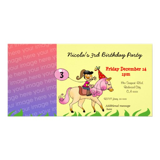 3rd birthday girl party invitations (pink pony) photo greeting card