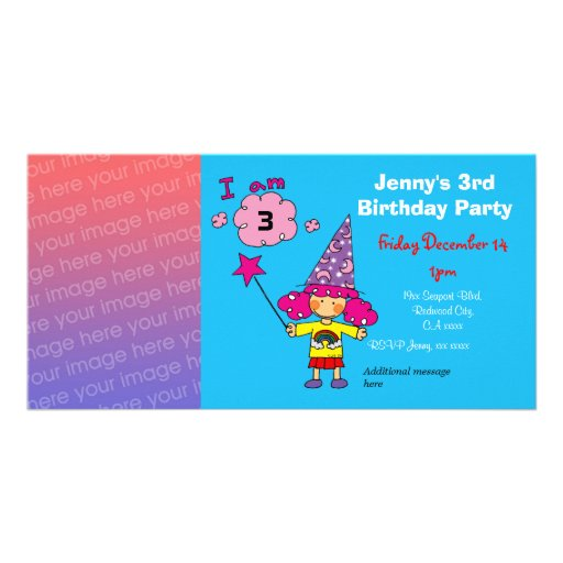 3rd birthday girl party invitations (wizard) personalized photo card