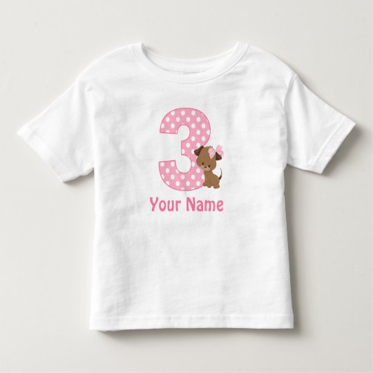 3rd Birthday Girl Puppy Personalised T Shirt