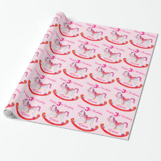 3rd birthday girls rocking horse art gift wrap wrapping paper