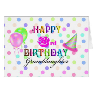 3rd Birthday Granddaughter Card