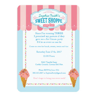 3rd Birthday Ice Cream Party Invitations Sweet