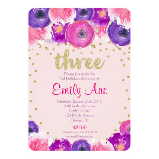 3rd birthday invitation girl, pink purple gold