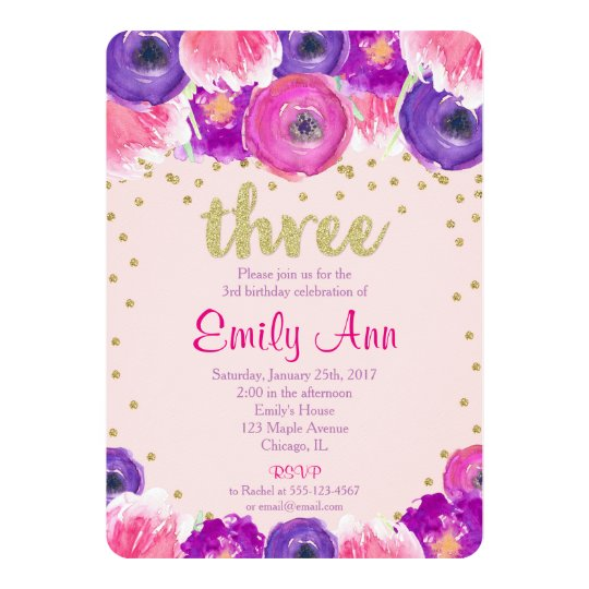 3rd birthday invitation girl pink purple gold zazzle co uk