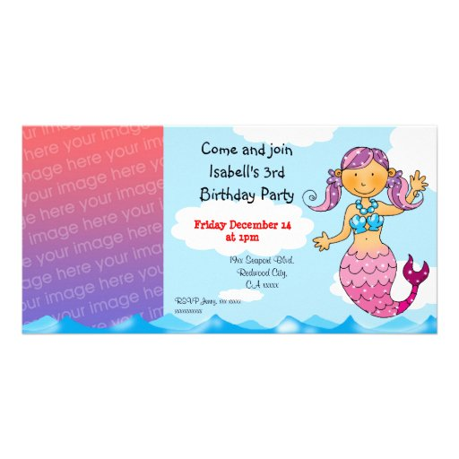 3rd birthday mermaid girl party personalized customized photo card