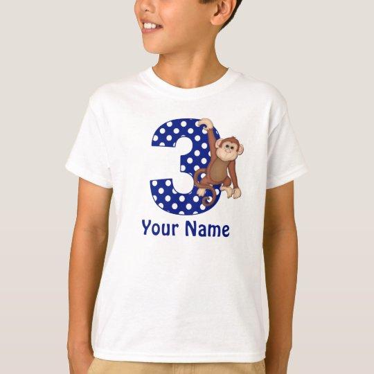 3rd Birthday Monkey Blue Personalised Shirt