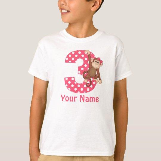 3rd Birthday Monkey Girl Personalised Shirt