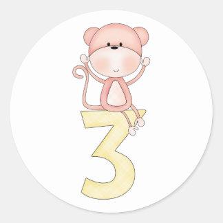 3rd Birthday Monkey (pink) Stickers