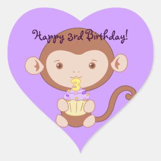 3rd Birthday Monkey Stickers