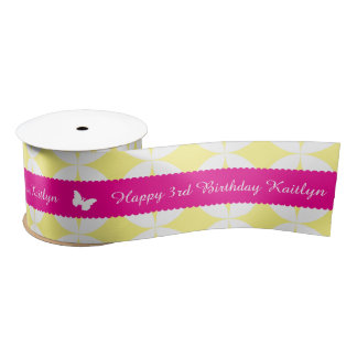 3rd birthday name pink white butterfly ribbon satin ribbon