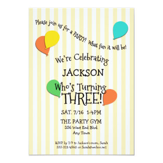 3rd Birthday Party Add a Photo Balloons Invitation