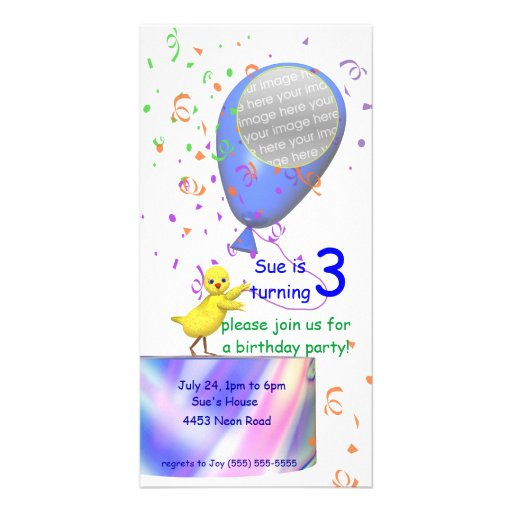 3rd Birthday Party Chicken Invite Blue Balloon Customized Photo Card