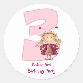 3rd birthday party customizable sticker - cute