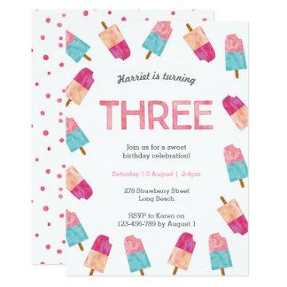 3rd Birthday Party   Popsicle Ice cream invitation