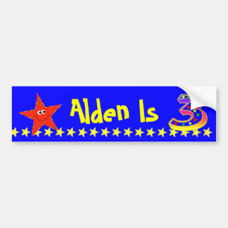 3rd Birthday Party Red Smiley Star Decoration Bumper Sticker
