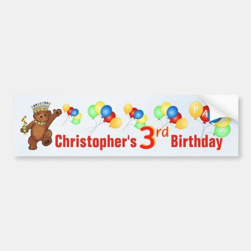 3rd Birthday Party Teddy Bear Prince Bumper Sticker