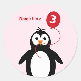 3rd birthday penguin add name pink round sticker