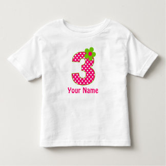 3rd Birthday Pink and Green Dot Personalized Shirt