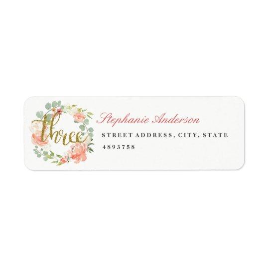 3rd Birthday Pink Gold Wreath Address Label