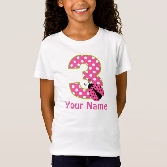 3rd Birthday Pink Green Ladybug Personalised Shirt