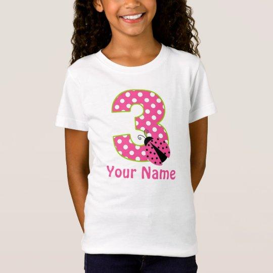 3rd Birthday Pink Green Ladybug Personalised Shirt