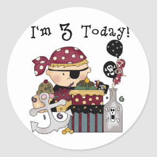 3rd Birthday Pirate Tshirts and Gifts Classic Round Sticker