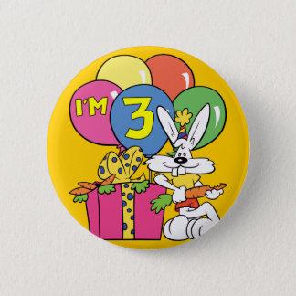 3rd Birthday Rabbit 6 Cm Round Badge