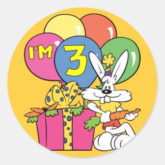 3rd Birthday Rabbit Round Stickers