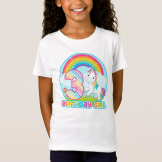 3rd Birthday Rainbow Unicorn - Birthday Girl T-Shirt
