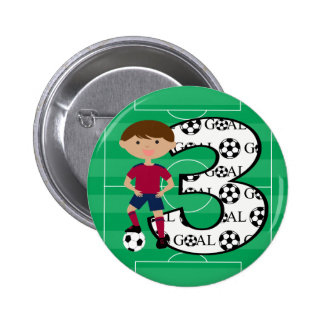 3rd Birthday Red and Blue Soccer Goal Button